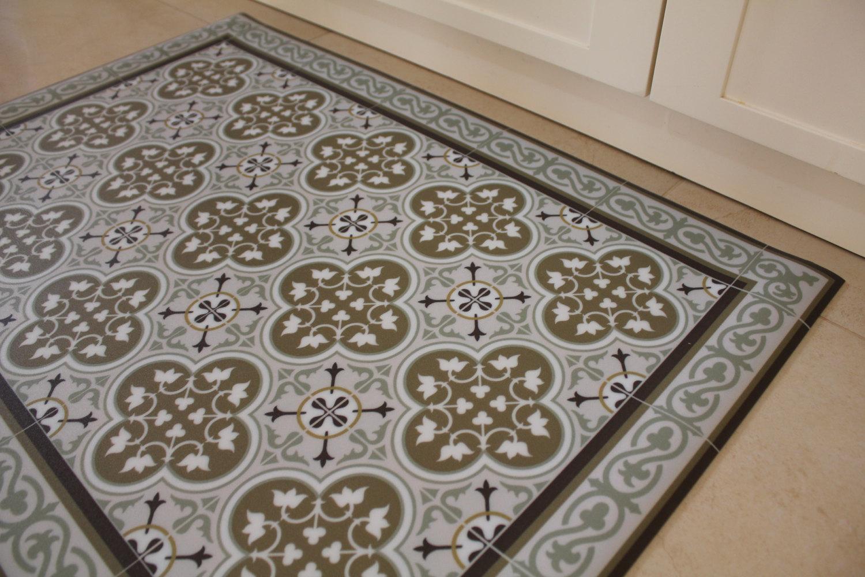 Free Shipping Tiles Pattern Decorative Pvc Vinyl Mat Linoleum Rug 3