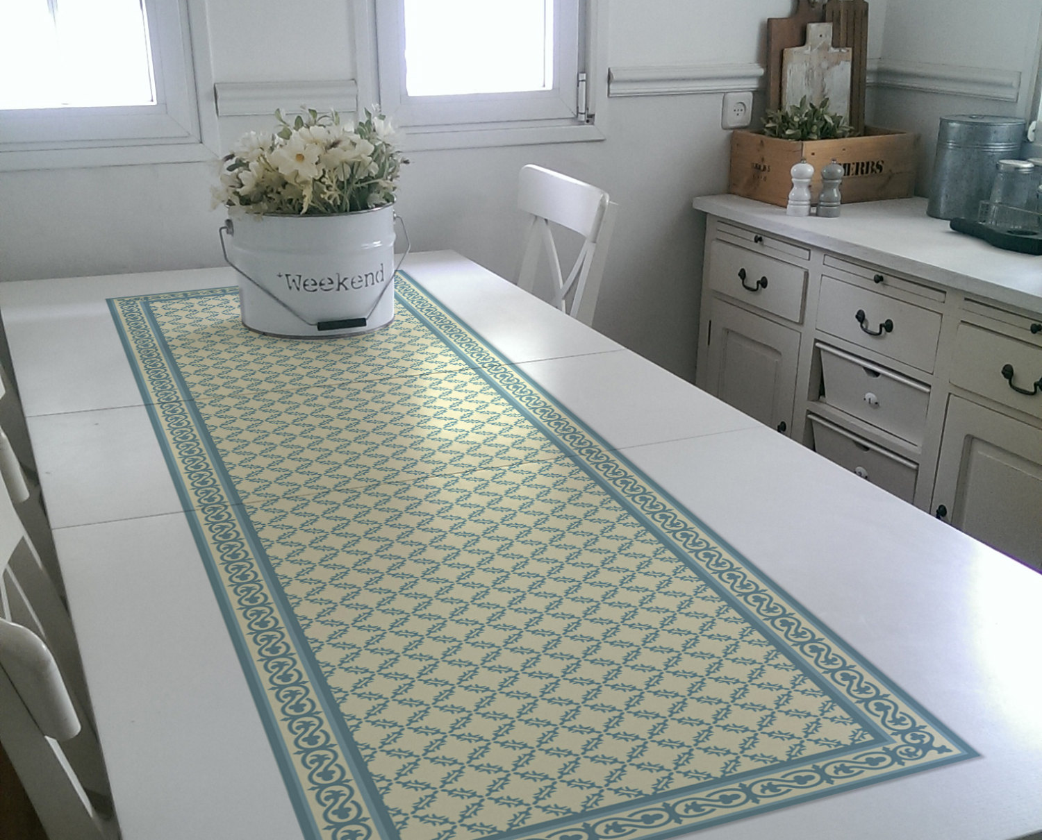 Free Shipping Blue Table Runner Wedding Table Runner geometric design placemat no.01