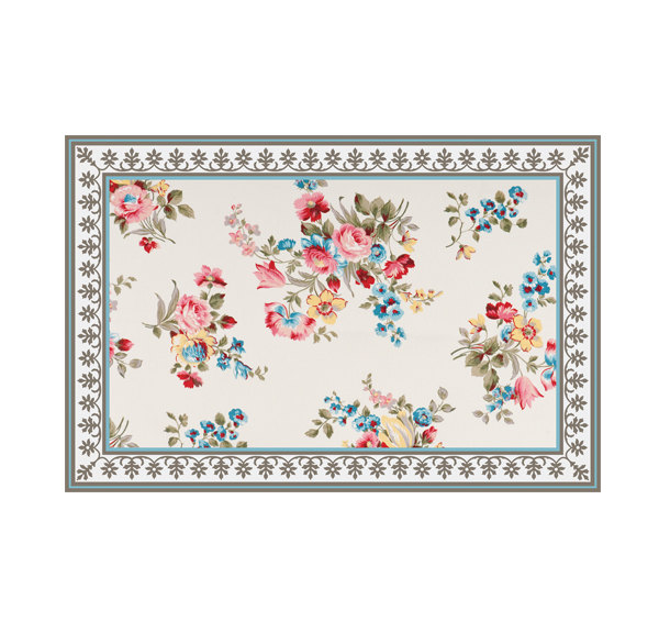 FREE SHIPPING Flowers Pattern Decorative PVC vinyl mat linoleum rug - roses 01