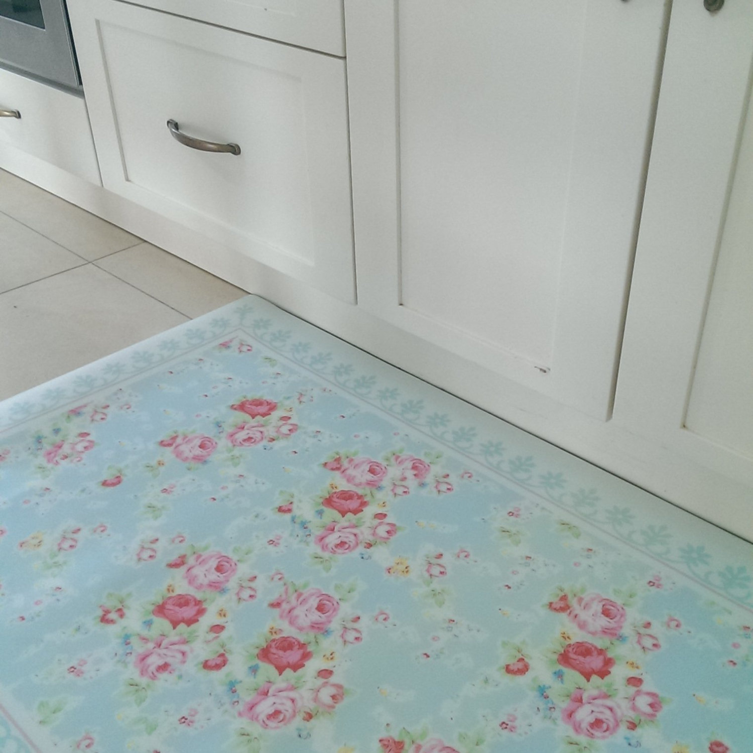 Free Shipping Flowers Pattern Decorative PVC vinyl mat linoleum rug - roses 04