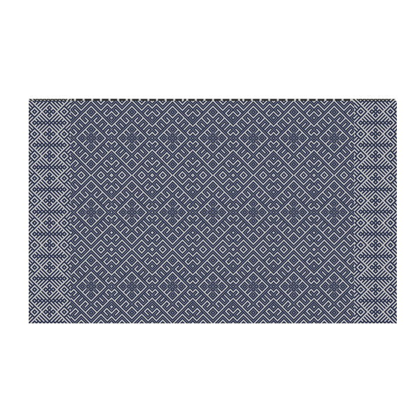 FREE SHIPPING kilim Pattern Decorative PVC vinyl mat linoleum rug - dark blue- k-311