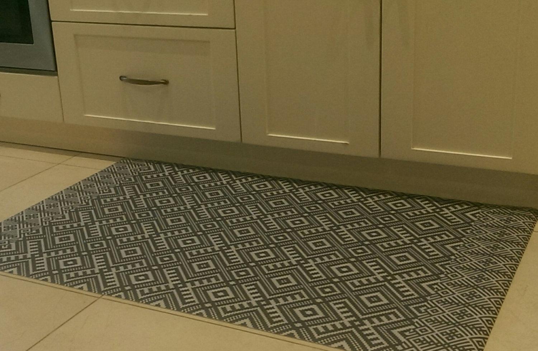 FREE SHIPPING kilim Pattern Decorative PVC vinyl mat linoleum rug - gray- k-211