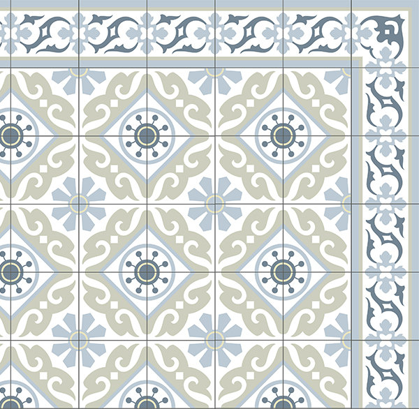 FREE SHIPPING Tiles Pattern Decorative PVC vinyl mat linoleum rug - Color Gray Green And Azure 212