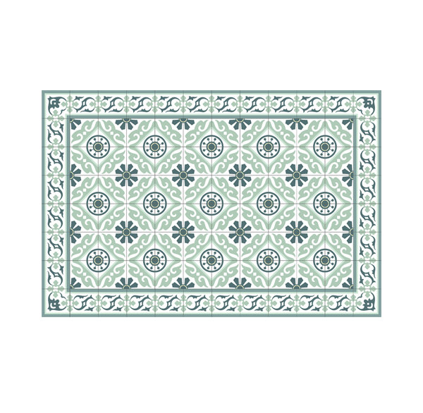 Free Shipping Tiles Pattern Decorative PVC vinyl mat linoleum rug - Color Turquoise  211