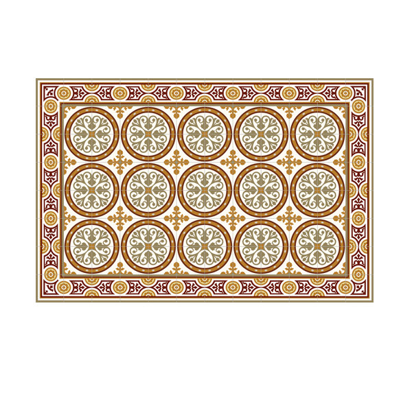FREE SHIPPING Tiles Pattern Decorative PVC vinyl mat linoleum rug- orange and Bordeaux- 811