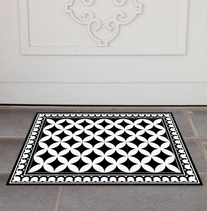 White Kitchen Floor Mats: Free Shipping Tiles Pattern Decorative PVC Vinyl Mat