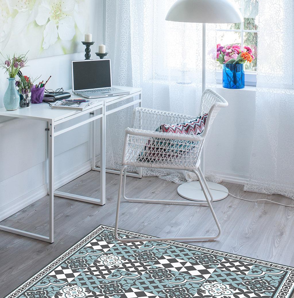 PVC vinyl mat linoleum rug Free Shipping Mix Tiles Pattern 310  - azure & gray