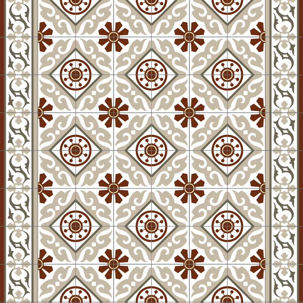 PVC vinyl mat Tiles Pattern Decorative  linoleum rug - Color Bordeaux And Gray 210, FREE Shipping