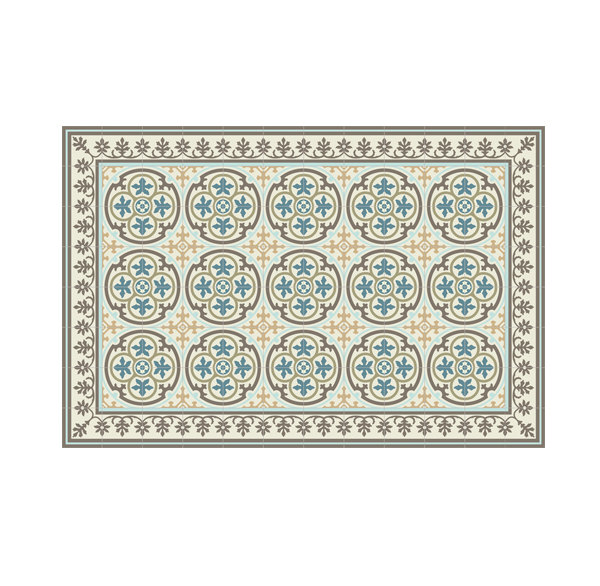 SALE  PVC vinyl mat Tiles Pattern Decorative  linoleum rug Blue And Gray 104 ,FREE Shipping