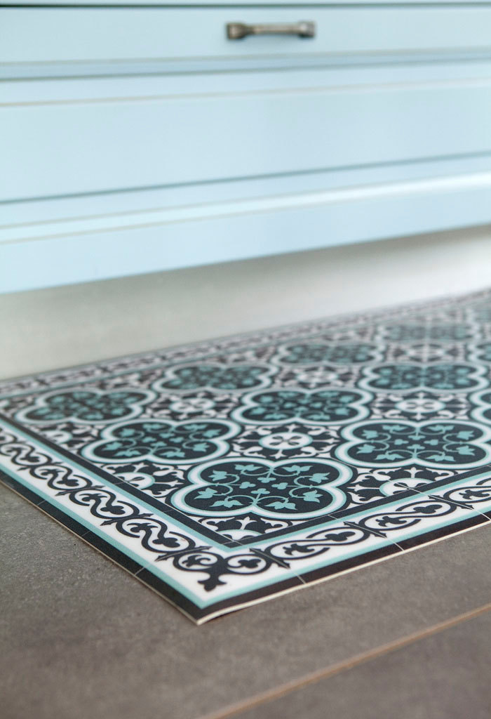 Tiles Pattern Decorative PVC vinyl mat - Color Dark Brown And Azure 171 PVC Rug, Kitchen Mat