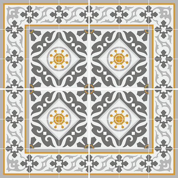 Traditional Tiles - Floor Tiles - Floor Vinyl - Tile Stickers - Tile Decals - bathroom tile decal - kitchen tile decal - 214