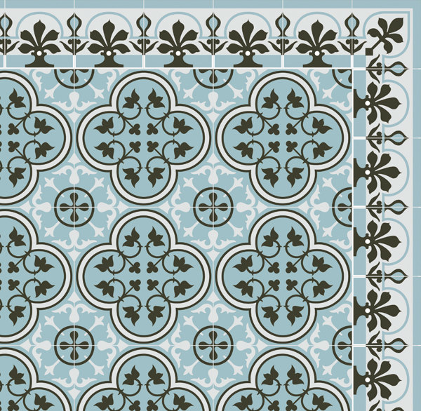 SALE  Tiles Pattern Decorative PVC vinyl mat linoleum rug- Color Azure And Gray 172