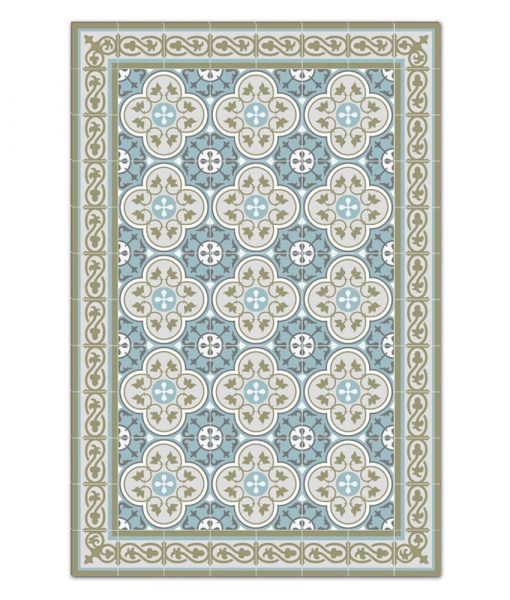 Kitchen mat, Mat, Floor rug, Kitchen décor, Rustic kitchen, Decorative tiles, Designed kitchen, Printed mat, Pvc mat, green- gray- blue, 178