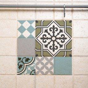 Mix Tile Decals  Kitchen/Bathroom tiles vinyl floor tiles free shipping – design 304