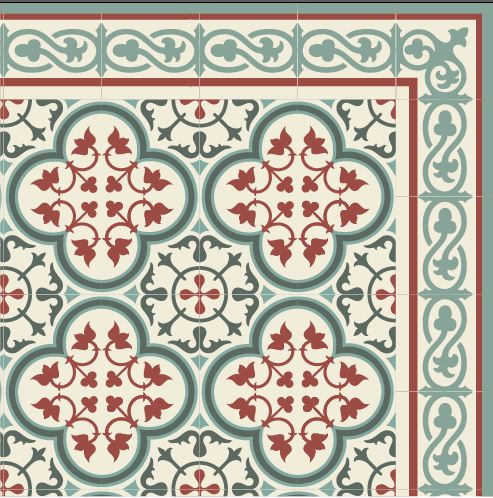 SALE ! PVC vinyl mat Tiles Pattern 120/180 cm   Bordeaux And green 177