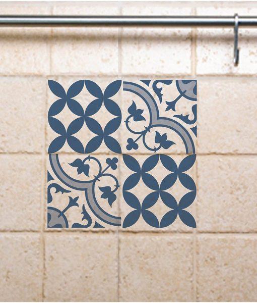 Tile Decals,  Kitchen/Bathroom tiles, vinyl, wall floor tiles, kitchen decoratiom, free shipping- mix blue