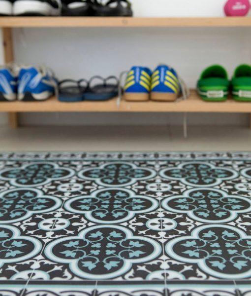 Tiles Pattern Decorative PVC vinyl mat – Color Dark Brown And Azure 171 PVC Rug, Kitchen Mat