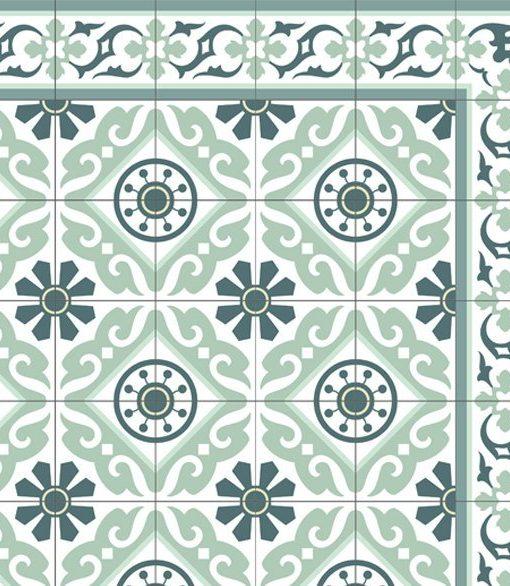 Tiles Pattern Decorative PVC vinyl mat linoleum rug, Free Shipping – Color Turquoise  211