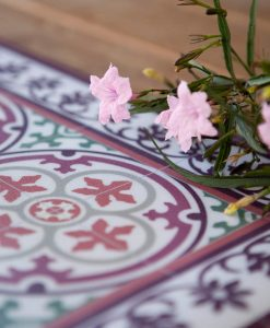PVC vinyl mat Tiles Pattern Decorative  linoleum rug , Bordeaux and orange- 105 , FREE Shipping