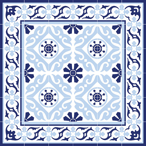 Traditional Tiles Floor Tiles Floor Vinyl Tile Stickers Tile Decals - Blue-bathroom-tile-stickers