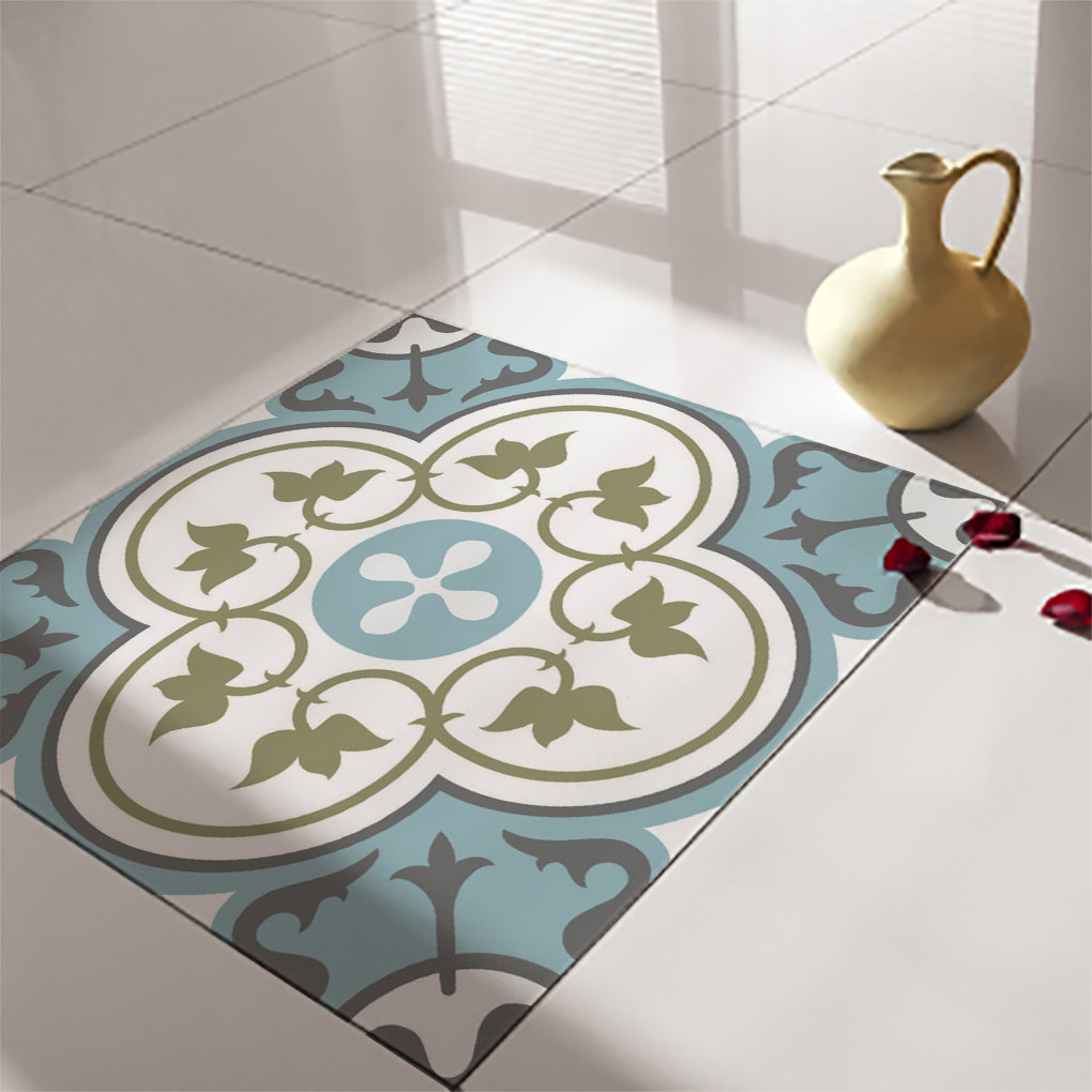 Floor tile decals stickers vinyl decals vinyl floor for Adhesive decoration