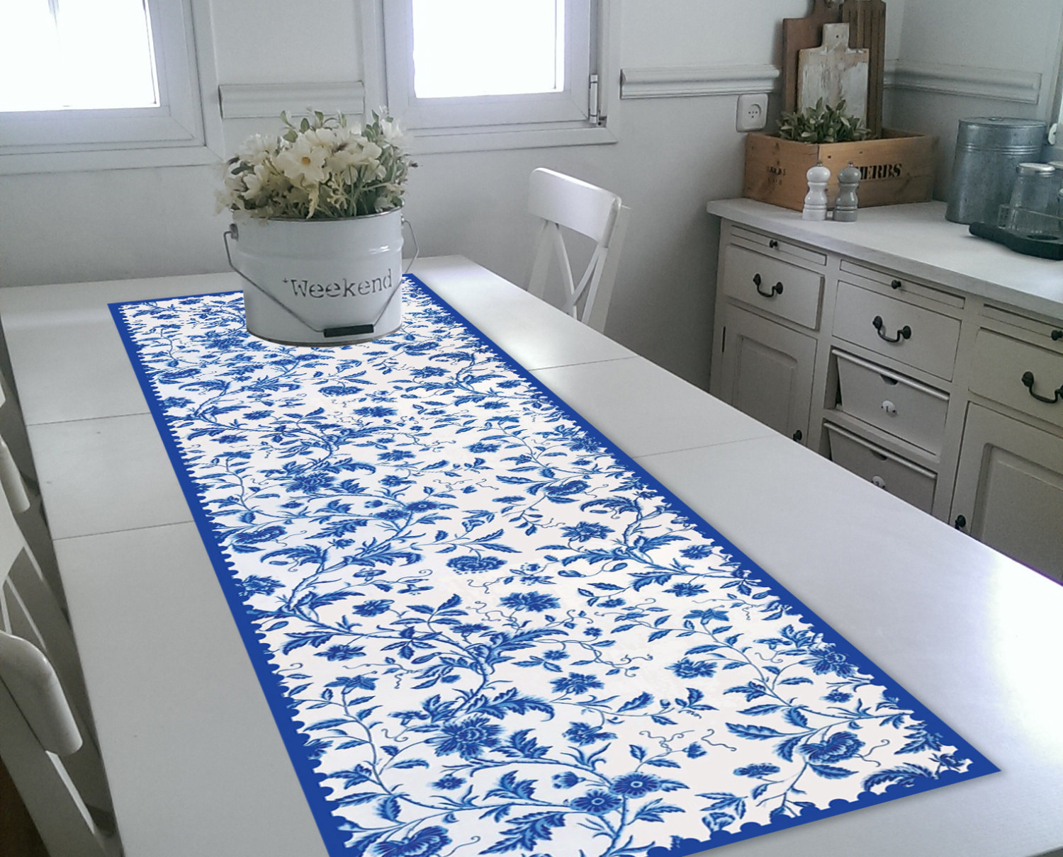 Free Shipping Blue flowers Table Runner Wedding Table Runner flowers design placemat no.06