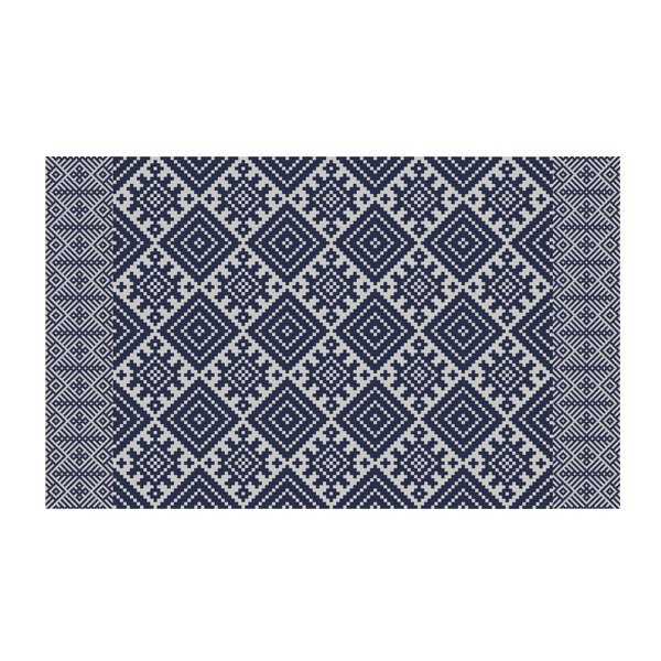 FREE SHIPPING kilim Pattern Decorative PVC vinyl mat linoleum rug - dark blue- k-412