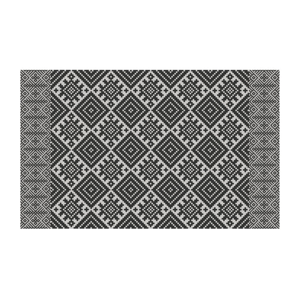FREE SHIPPING kilim Pattern Decorative PVC vinyl mat linoleum rug - dark gray- k-410