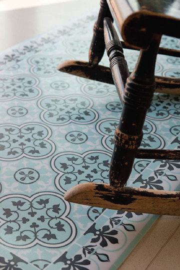 FREE SHIPPING Tiles Pattern Decorative PVC vinyl mat linoleum rug- Color Azure And Gray 172