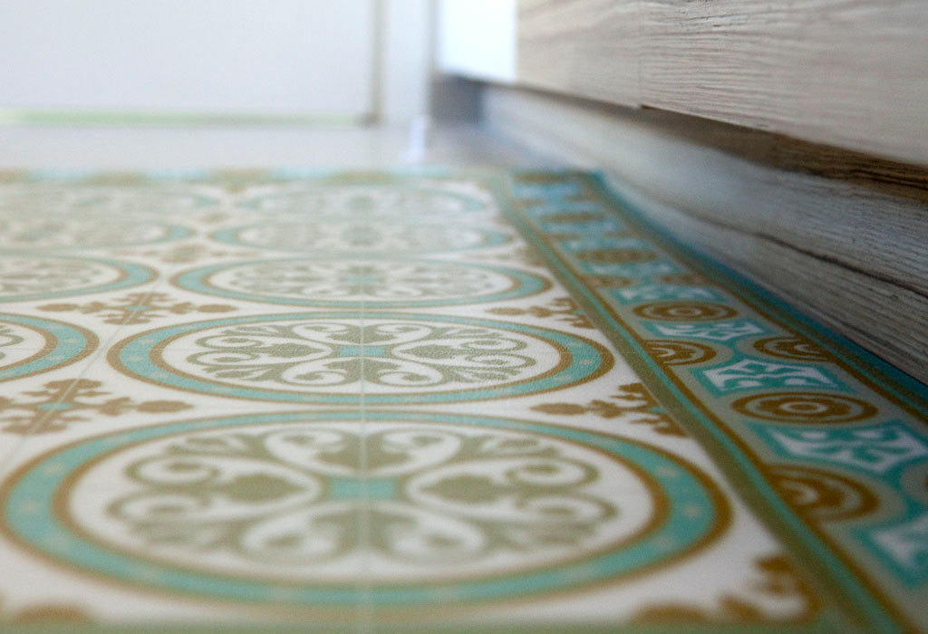 Free Shipping Tiles Pattern Decorative PVC Vinyl Mat Linoleum Rug   Color  Turquoise And Ocher 812