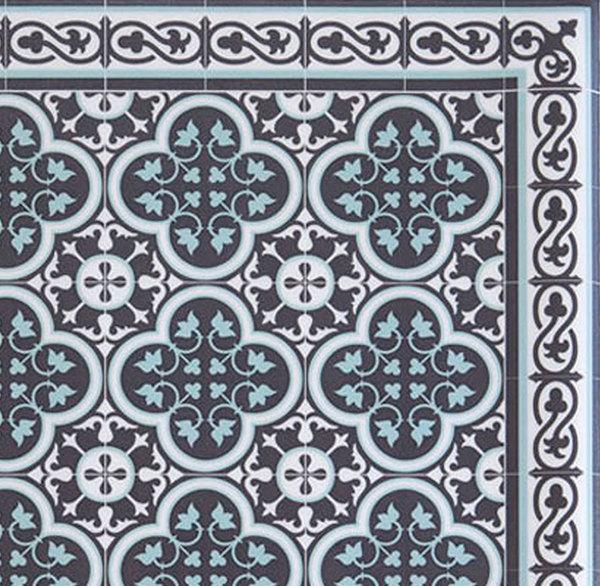 Kithchen Mat, Kitchen décor, Mat, rustic kitchen, Decorative tiles, Designed kitchen, Printed mat, Pvc mat, dark gray& light blue , no. 171