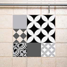 Mix Tile Decals  Kitchen/Bathroom tiles vinyl floor tiles free shipping - design 307
