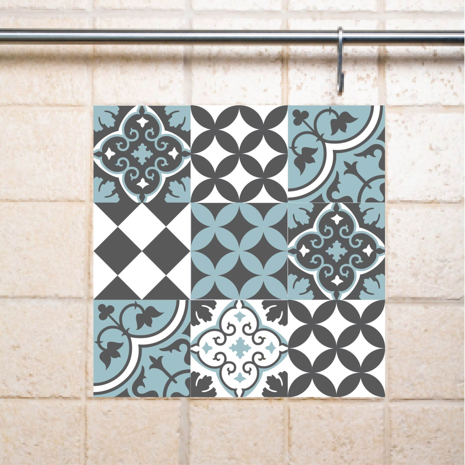 Mix Tile Decals  Kitchen/Bathroom tiles vinyl floor tiles free shipping - design 310