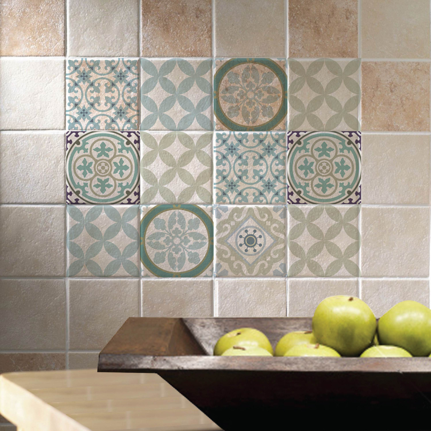 Mix tile decals kitchen bathroom tiles vinyl floor tiles for Bathroom tile stickers
