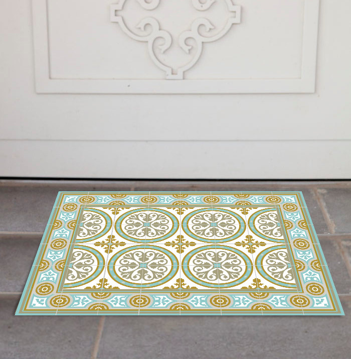 PVC Door Mat, Welcome Mat, Tile rug , Dog Rug, Pets mat,  Comfort mat, Housewarming , 812