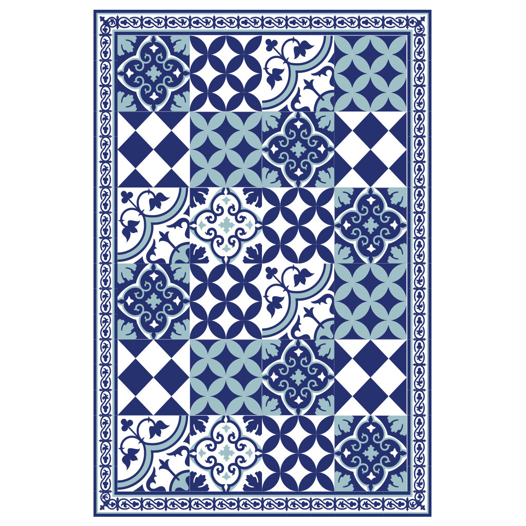 PVC vinyl mat linoleum rug Free Shipping Mix Tiles Pattern 309  - blue