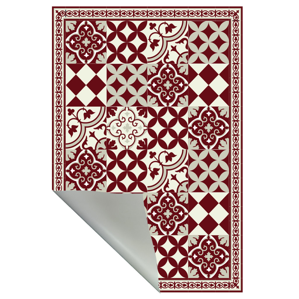 PVC vinyl mat linoleum rug Free Shipping Mix Tiles Pattern 311  - Bordeaux