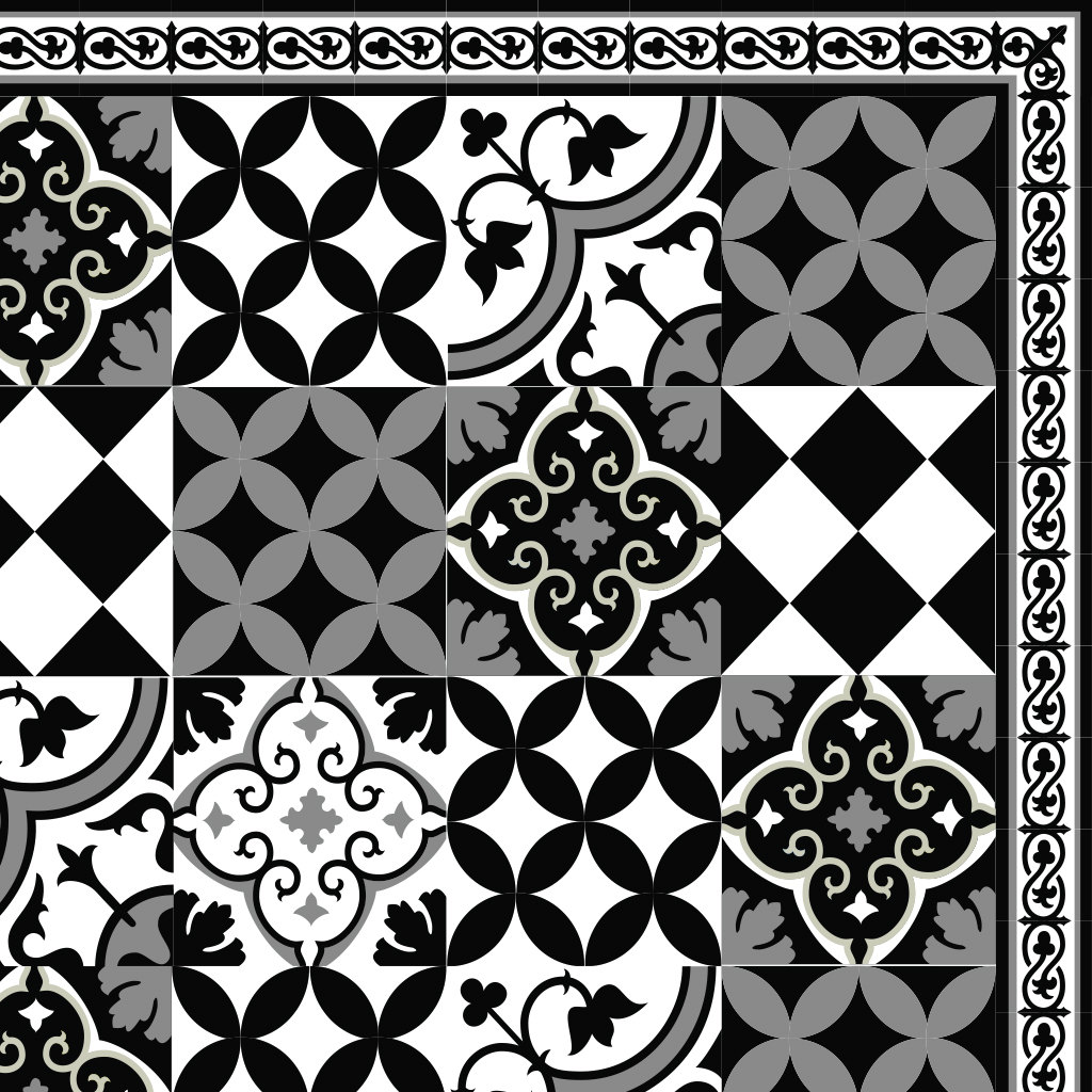 Pvc Vinyl Mat Linoleum Rug Free Mix Tiles Pattern 313 Black White