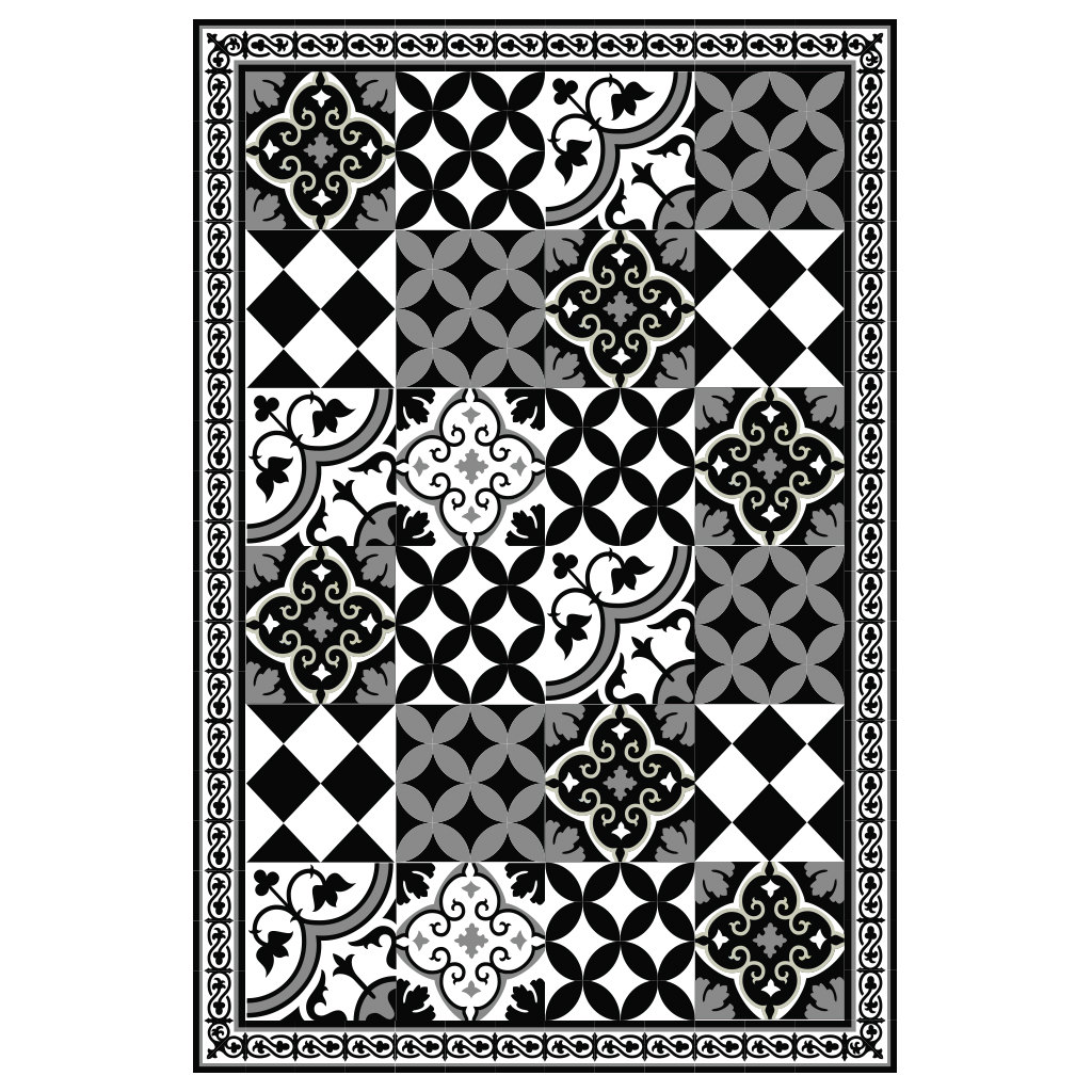 PVC vinyl mat linoleum rug Free Shipping Mix Tiles Pattern 313  - black & white