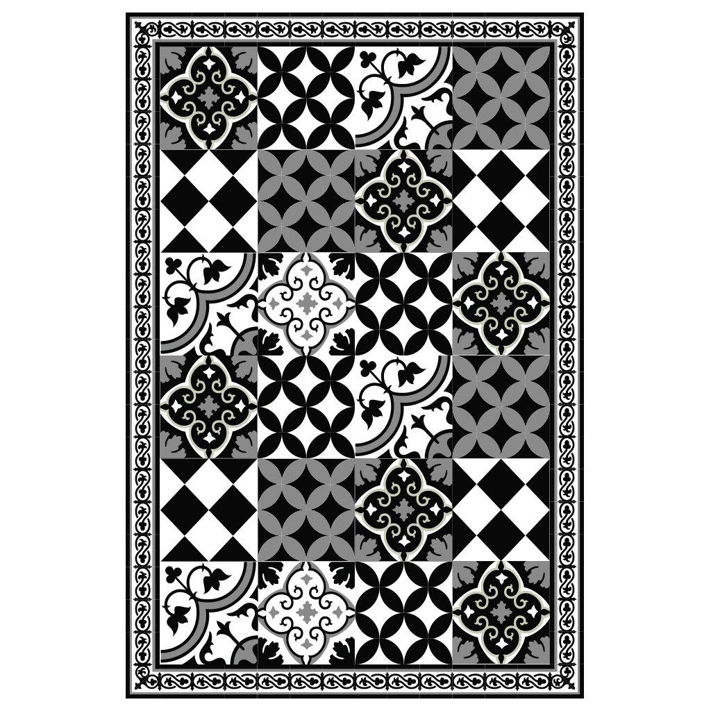 PVC vinyl mat Tiles Pattern Decorative linoleum rug – Color Black ...