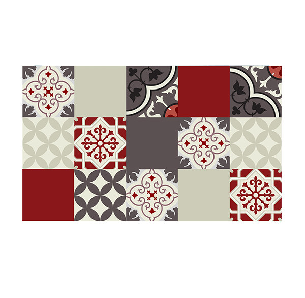 PVC vinyl mat Tiles Pattern Decorative  linoleum rug  301 - Color mix PVC Rug , FREE Shipping