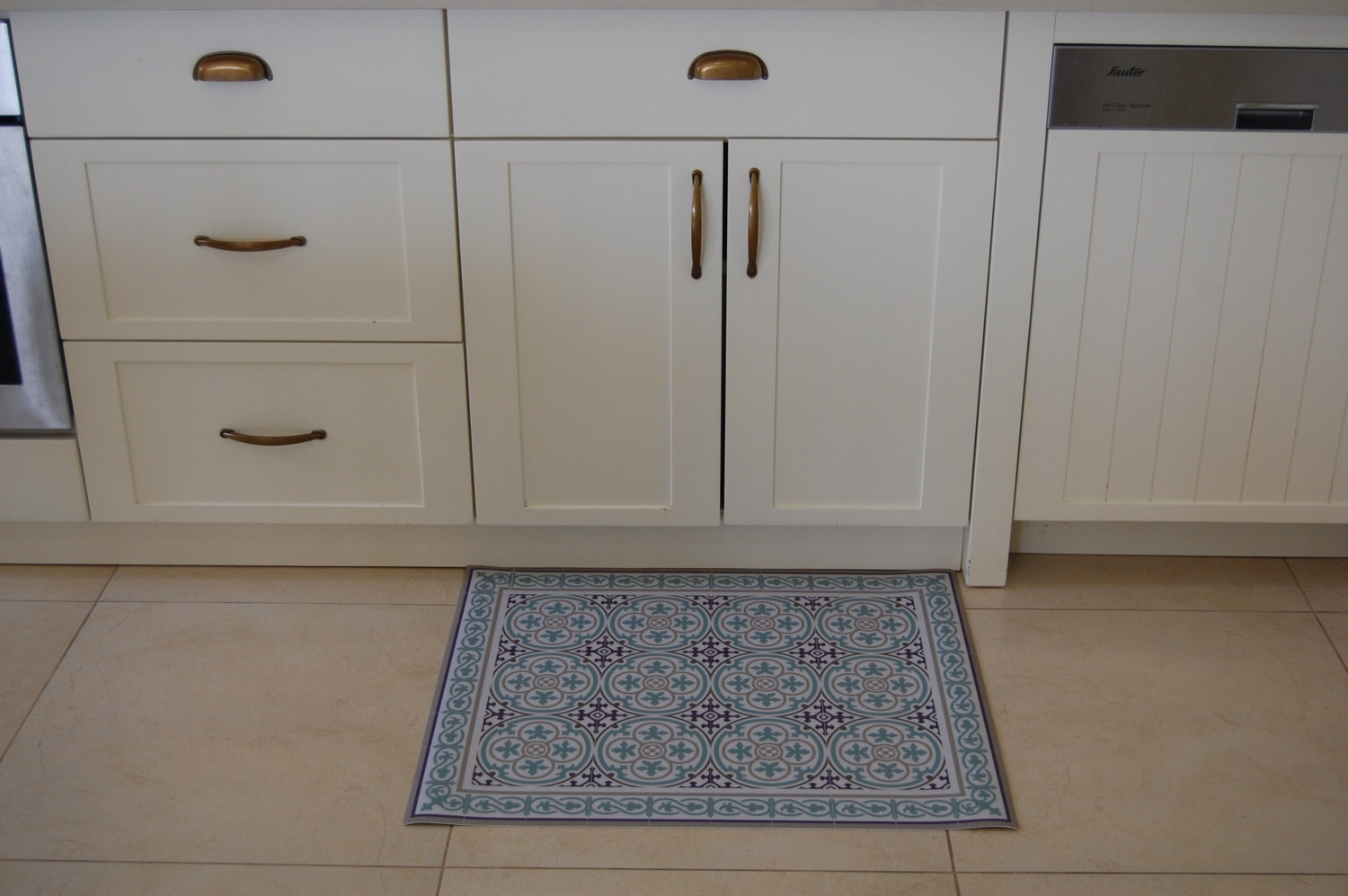 Pvc vinyl mat tiles pattern decorative linoleum rug for Kitchen linoleum tiles