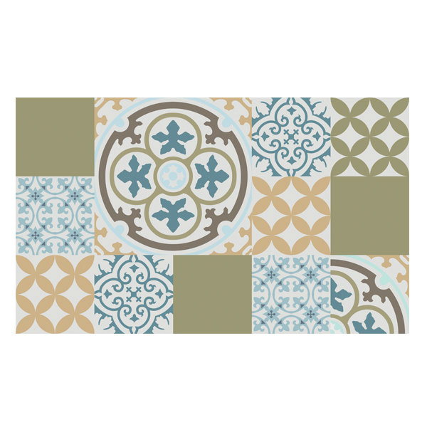 PVC vinyl mat Tiles Pattern Decorative  linoleum rug  mix 302, Kitchen mat, FREE Shipping