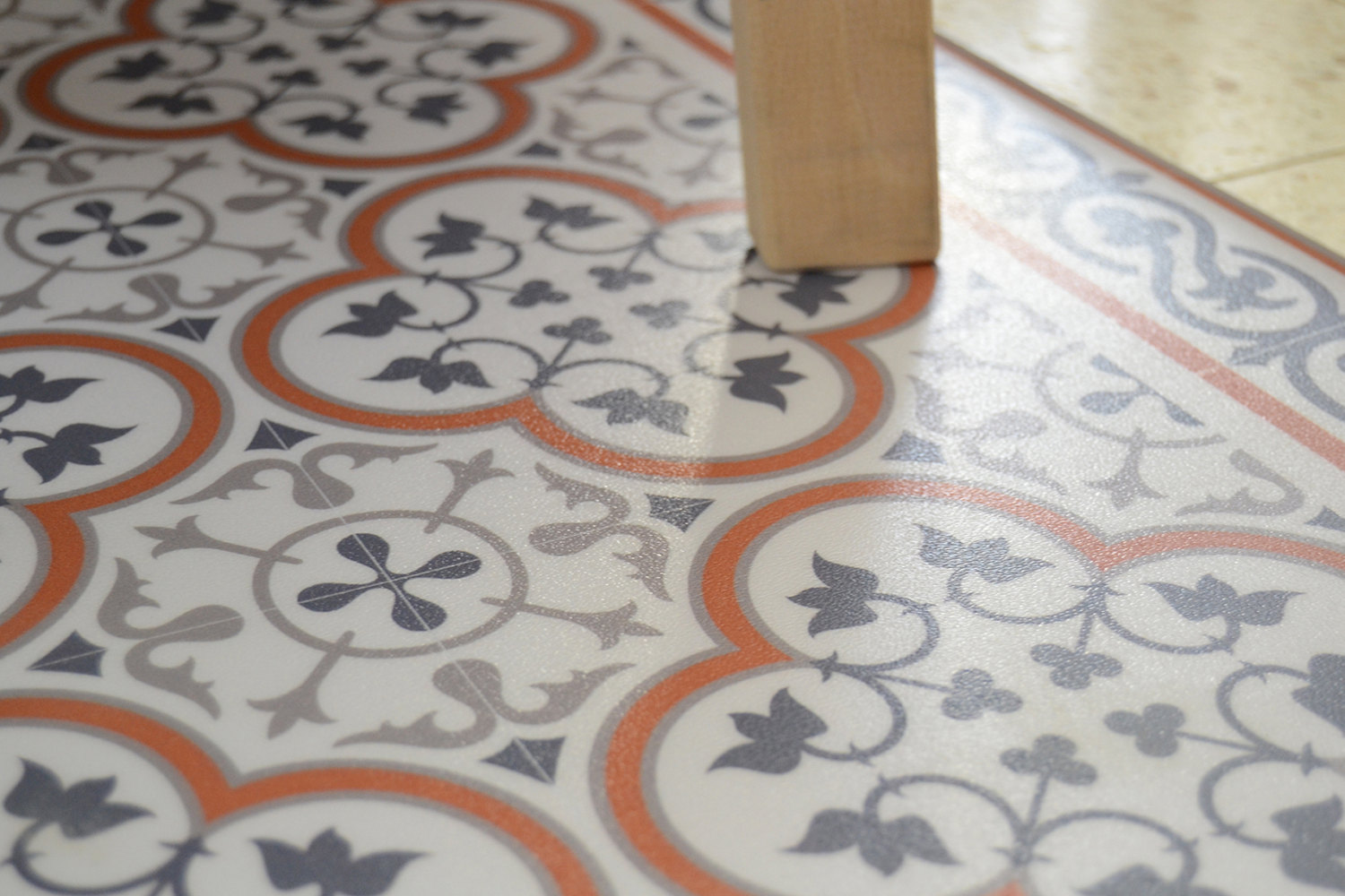 PVC vinyl mat Tiles Pattern Decorative linoleum rug Orange ...