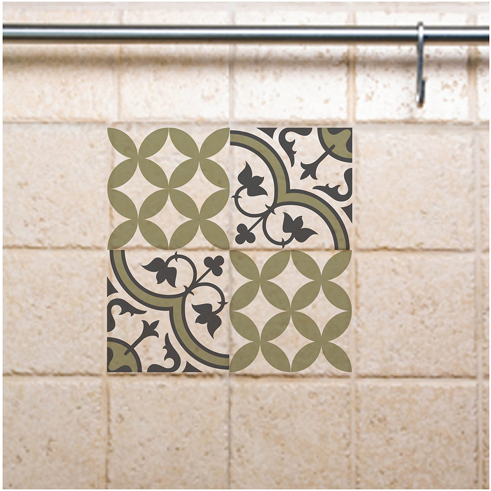 Tile Wall Decals mix green tile stickers , green, diy tile stickers