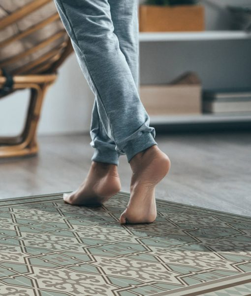 Kitchen Mat, Kitchen décor, Mat, rustic kitchen, Decorative tiles, area rug , Printed big mat, Pvc mat, soft green & brown, no. 602