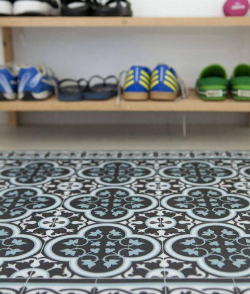 Kitchen Mat, Kitchen décor, Mat, rustic kitchen, Decorative tiles, Designed kitchen, Printed mat, Pvc mat, dark gray& light blue , no. 171