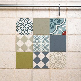 Mix Tile Decals  Kitchen/Bathroom tiles vinyl floor tiles free shipping – design 306