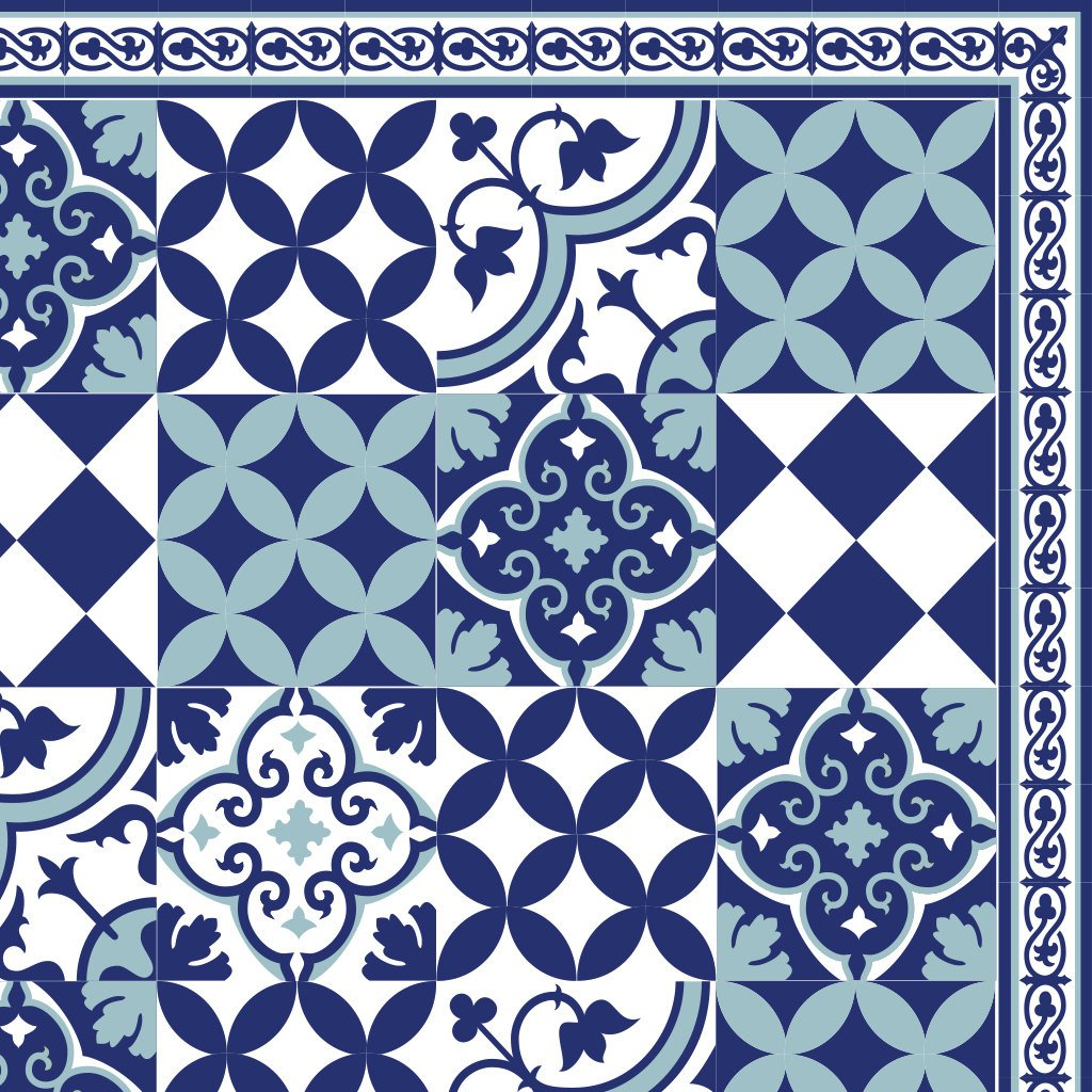 PVC vinyl mat linoleum rug Free Shipping Mix Tiles Pattern 309 - blue