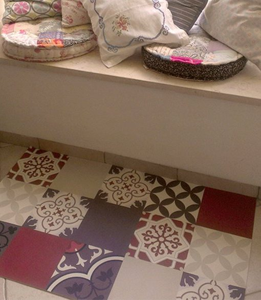 PVC vinyl mat Tiles Pattern Decorative  linoleum rug  301 – Color mix PVC Rug , FREE Shipping
